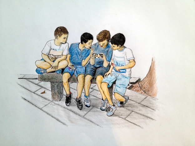 Amets, Unai, Unai and Kimets. Artwork in colored pencils and ink pen