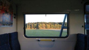 Clear commuter train window
