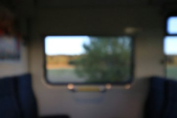 Blurry commuter train window
