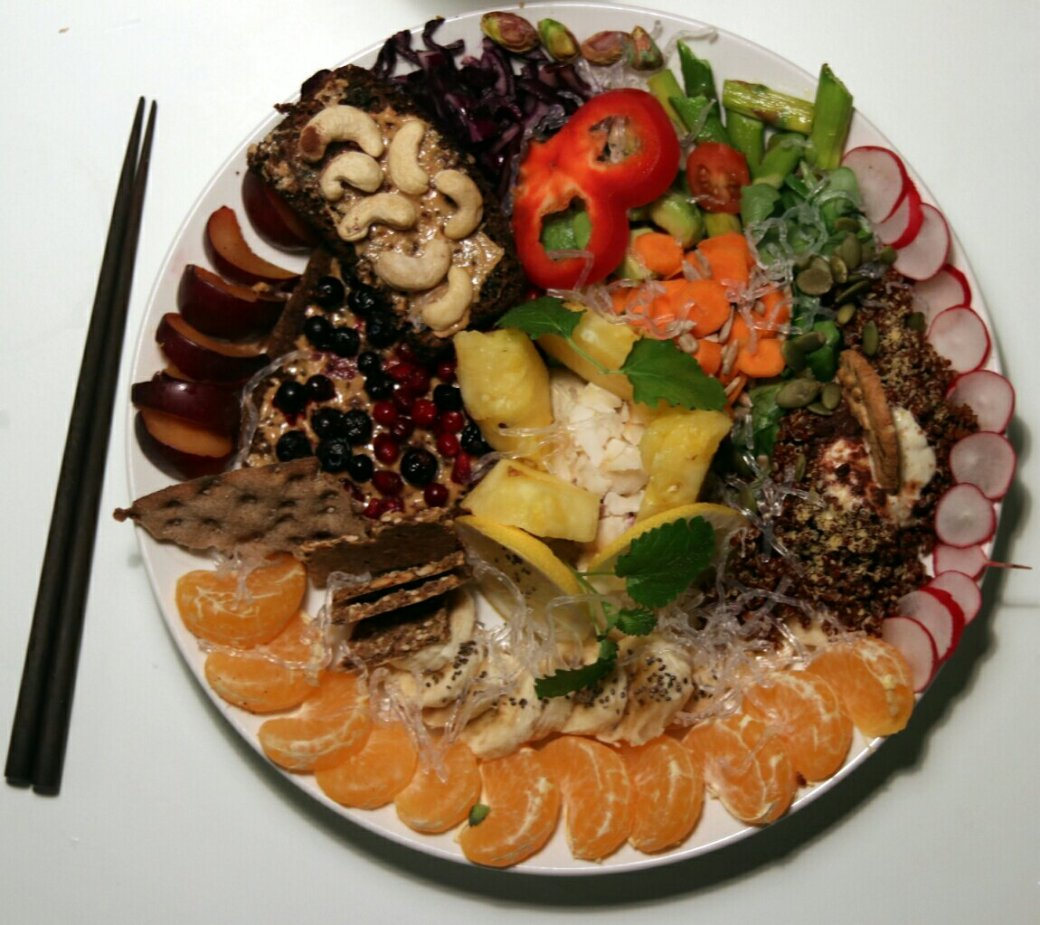 Vegan dinner for all chakras, top view